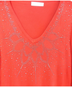 Pull femme strass chic