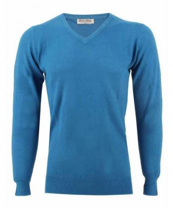 Pull col V turquoise