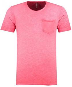 t shirt à poche rose