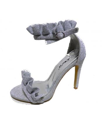 Sandale à talon froufrou
