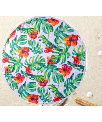 Drap de plage fleurie